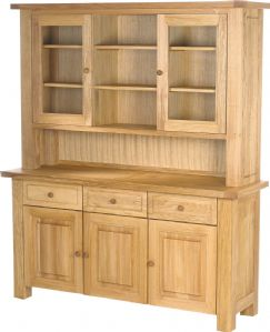 Charltons Bretagne Solid Oak 3 Door Dresser/Sideboard Top